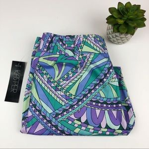 Kasper Purple, Blue, Green Geometric Pants